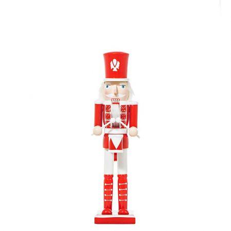 Διακοσμητικός καρυοθραύστης ξύλινος Κόκκινος - Λευκός 9x8x38cm