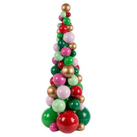Διακοσμητικό Χριστουγεννιάτικο δεντράκι από μπάλες polyresin με LED 41cm