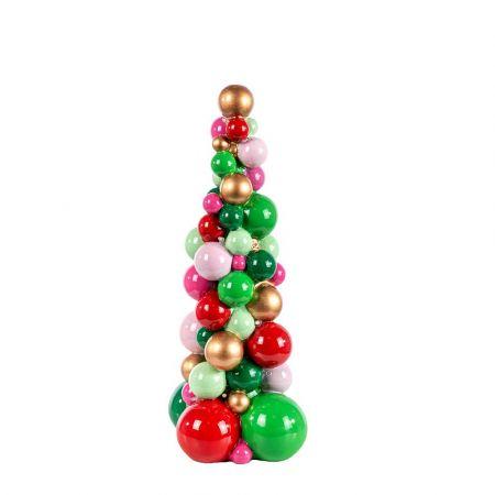 Διακοσμητικό Χριστουγεννιάτικο δεντράκι από μπάλες polyresin με LED 31,5cm