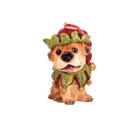 Χριστουγεννιάτικο κρεμαστό στολίδι - Σκυλάκι με σκούφο 9cm