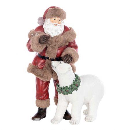 Διακοσμητικός Άγιος Βασίλης με αρκούδα polyresin 28cm