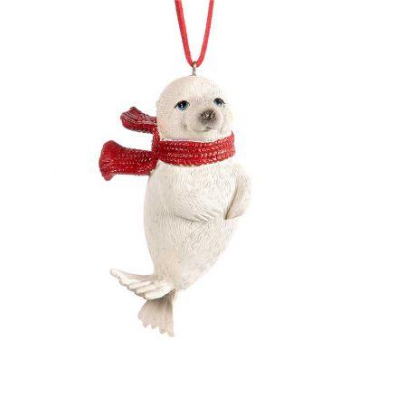 Χριστουγεννιάτικο κρεμαστό στολίδι - Φώκια με κασκόλ 10cm