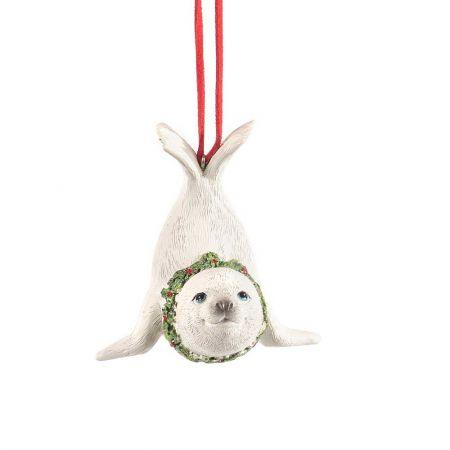 Χριστουγεννιάτικο κρεμαστό στολίδι - Φώκια με στεφάνι 10cm