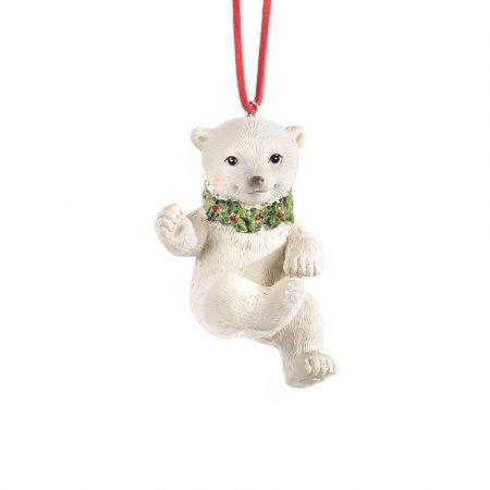 Χριστουγεννιάτικο κρεμαστό στολίδι - αρκούδα με στεφάνι 10cm