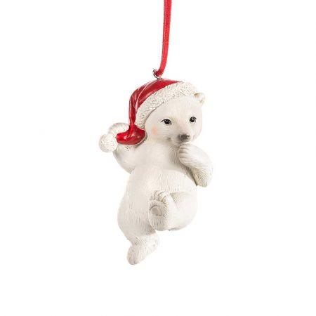 Χριστουγεννιάτικο κρεμαστό στολίδι - αρκούδα με σκούφο 10cm
