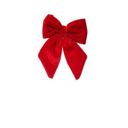 Βελούδινος Χριστουγεννιάτικος φιόγκος Κόκκινος 13,5x10cm