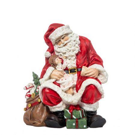Διακοσμητικός Άγιος Βασίλης καθιστός polyresin 36cm