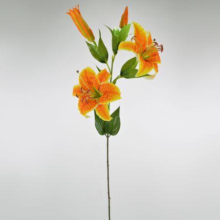 Διακοσμητικό συνθετικό λουλούδι Λίλιουμ Πορτοκαλί 82cm