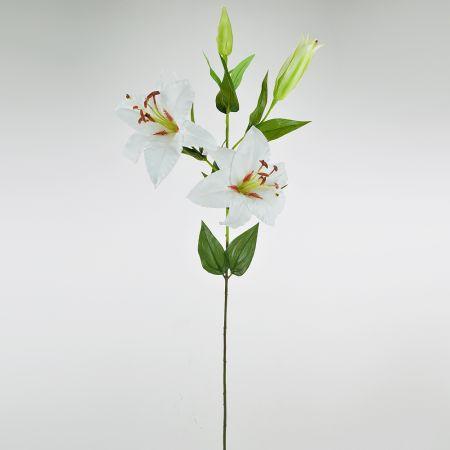 Διακοσμητικό τεχνητό λουλούδι Λίλιουμ Κρεμ 82cm