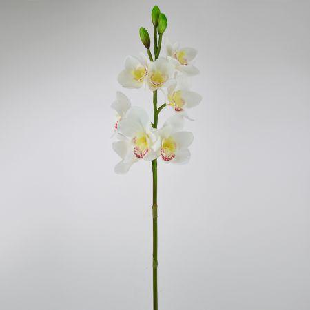 Διακοσμητική τεχνητή Ορχιδέα Λευκή 77cm