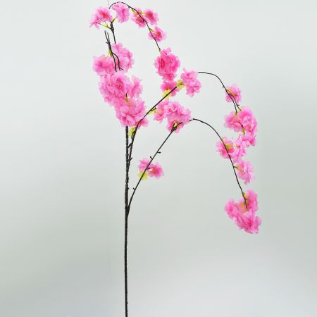 Διακοσμητικό τεχνητό κλαδί Ροδακινιάς  με σκούρα Ροζ άνθη 140cm