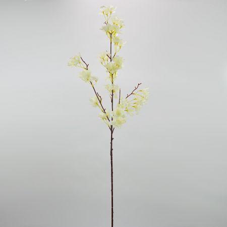 Διακοσμητικό τεχνητό κλαδί Ροδακινιάς  με Κρεμ άνθη 110cm