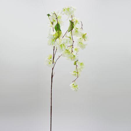 Διακοσμητικό τεχνητό κλαδί με άνθη Βουκαμβίλιας Λευκά 150cm