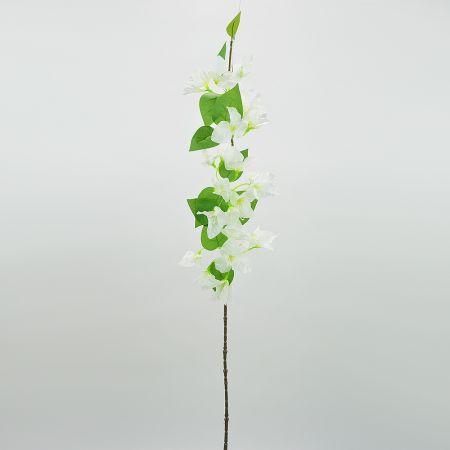 Διακοσμητικό τεχνητό κλαδί με άνθη Βουκαμβίλιας Λευκά 80cm