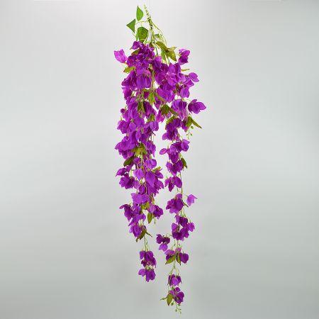 Διακοσμητικό κρεμαστό κλαδί με Μωβ άνθη Βουκαμβίλιας 135cm