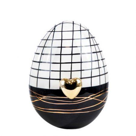 Διακοσμητικό αυγό με χρυσή καρδιά κεραμικό Μαύρο - Λευκό 11x17cm