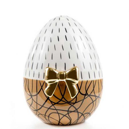 Διακοσμητικό αυγό με χρυσό φιόγκο κεραμικό Καφέ - Λευκό 13x13X16cm