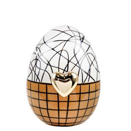 Διακοσμητικό αυγό με χρυσή καρδιά κεραμικό Καφέ - Λευκό 12cm