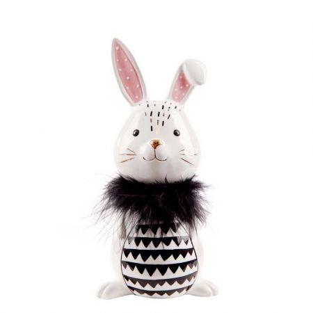 Επιτραπέζιος κεραμικός λαγός Λευκός - Μαύρος 22cm