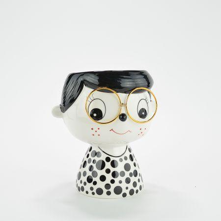 Διακοσμητικό βάζο - κεφάλι κεραμικό Λευκό - Μαύρο 17x13x19cm