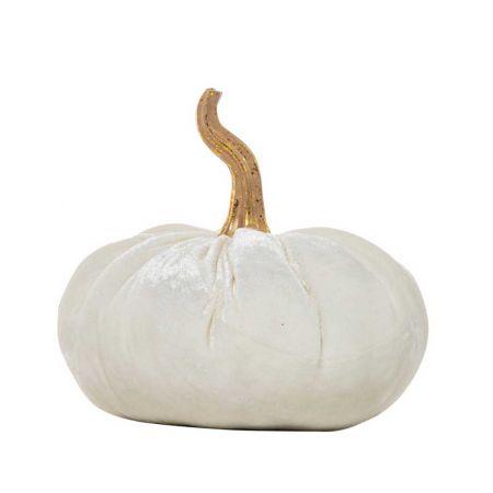 Διακοσμητική βελούδινη κολοκύθα Λευκή 25x22x21cm