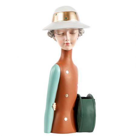 Επιτραπέζιο διακοσμητικό - φιγούρα Παριζιάνας με τσάντα 36cm