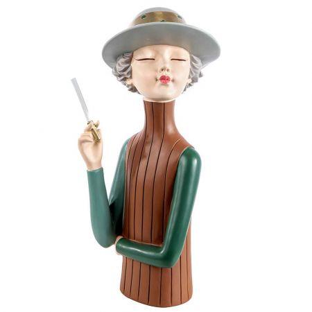 Επιτραπέζιο διακοσμητικό - φιγούρα Παριζιάνας με τσιγάρο Καφέ - Πράσινη 36cm