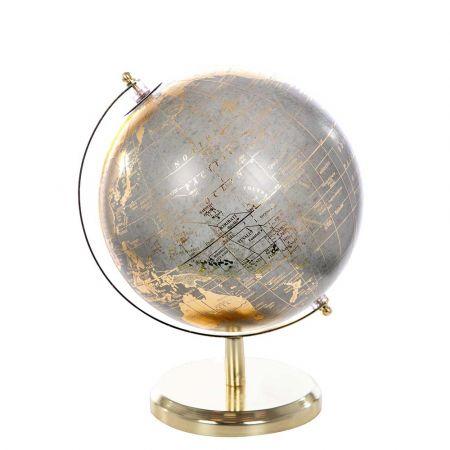 Διακοσμητική υδρόγειος σφαίρα Γκρι - Χρυσή 20x28cm