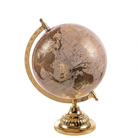 Διακοσμητική υδρόγειος σφαίρα Μπεζ - Χρυσό 20x28cm