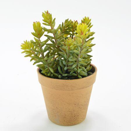 Διακοσμητικό τεχνητό φυτό Sedum σε γλαστράκι 11x20cm