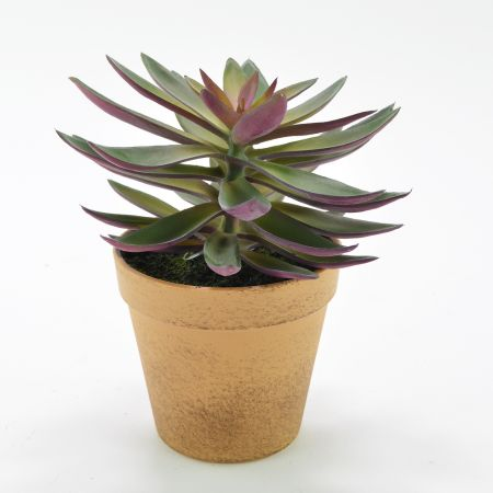 Διακοσμητικό τεχνητό φυτό Εχεβέρια σε γλαστράκι 15x20cm