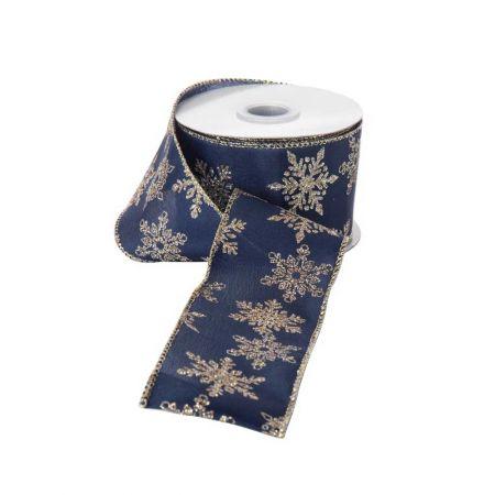Χριστουγεννιάτικη κορδέλα Μπλε 6,8cm / 10m