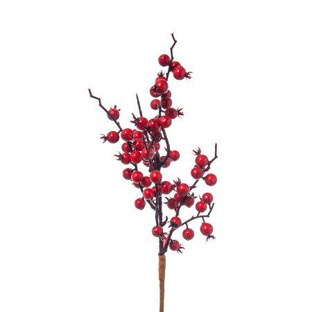 Χριστουγεννιάτικο κλαδί Berries - Γκι Κόκκινο 38cm