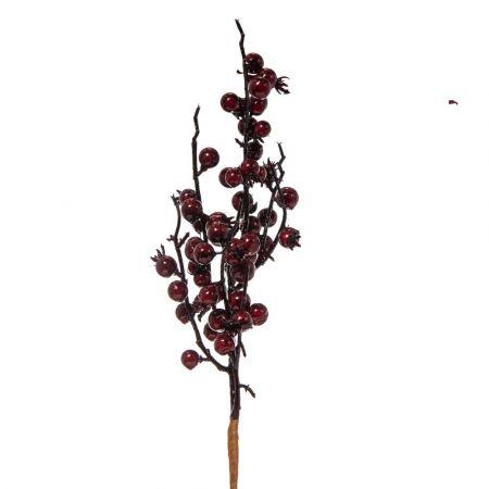 Χριστουγεννιάτικο κλαδί Berries - Γκι Μπορντό 38cm