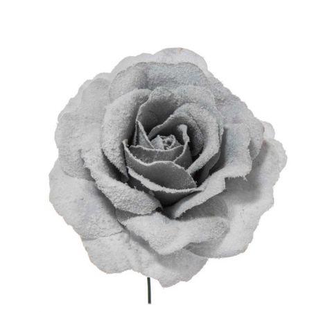 Διακοσμητικό Τριαντάφυλλο χιονισμένο Γαλάζιο 17cm