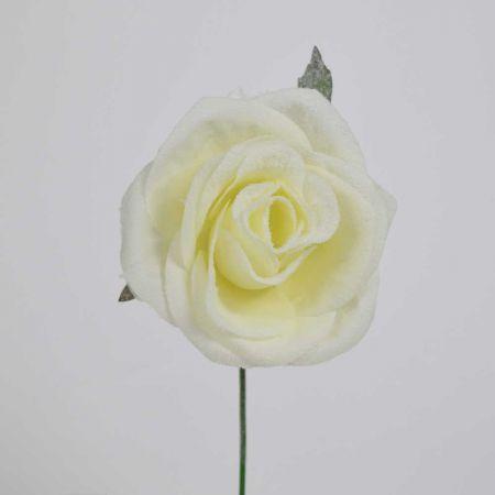 Χριστουγεννιάτικο τριαντάφυλλο χιονισμένο Λευκό 16cm