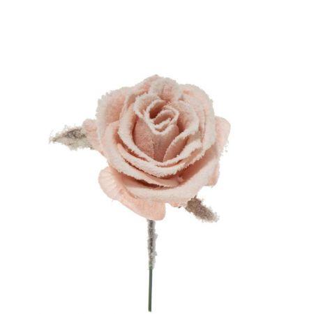 Χριστουγεννιάτικο τριαντάφυλλο χιονισμένο Ροζ 16cm
