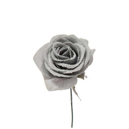 Χριστουγεννιάτικο τριαντάφυλλο χιονισμένο Γαλάζιο 16cm