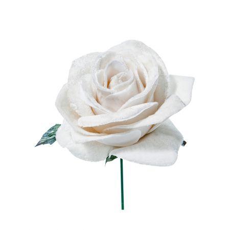 Χριστουγεννιάτικο τριαντάφυλλο deluxe Λευκό 16cm