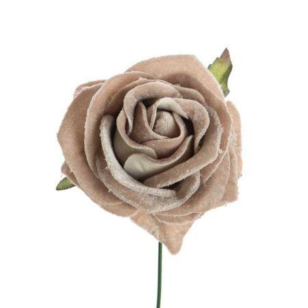 Βελούδινο τριαντάφυλλο deluxe Μπεζ 16cm