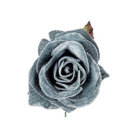 Χριστουγεννιάτικο τριαντάφυλλο βελούδινο deluxe Γαλάζιο 16cm