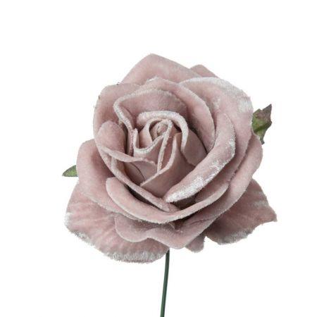 Βελούδινο τριαντάφυλλο deluxe Ροζ - Λιλά 16cm