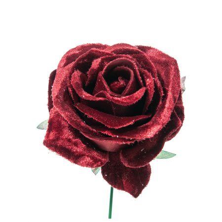 Χριστουγεννιάτικο τριαντάφυλλο deluxe Μπορντό 16cm