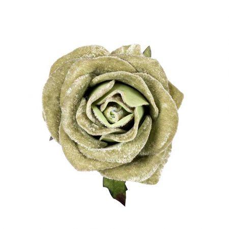 Χριστουγεννιάτικο τριαντάφυλλο βελούδινο deluxe Πράσινο Μέντας 16cm