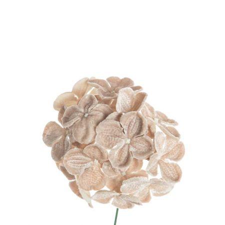 Βελούδινο λουλούδι Ορτανσία deluxe Μπεζ 19cm