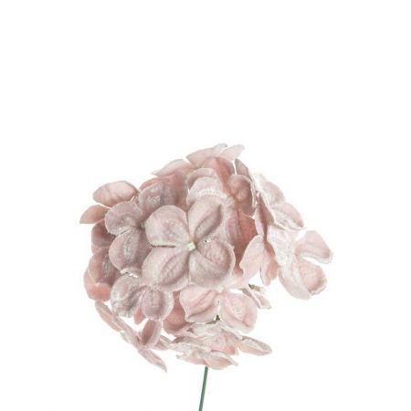 Βελούδινο λουλούδι Ορτανσία deluxe Ροζ - Λιλά 19cm