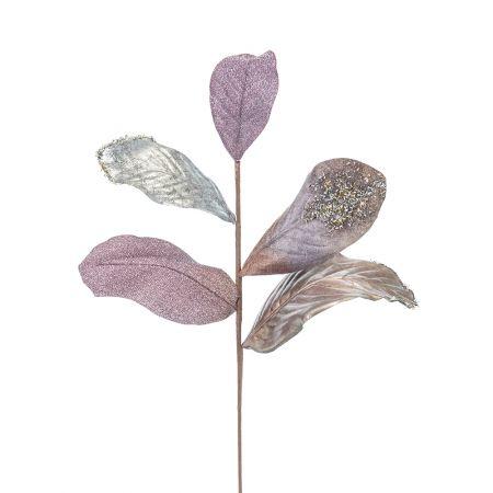 Χριστουγεννιάτικο κλαδί με φύλλα Μανόλιας Ασημί 58cm
