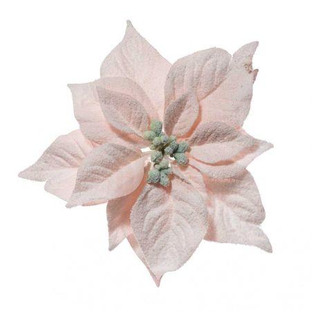 Χριστουγεννιάτικο Αλεξανδρινό άνθος Ροζ Χιονισμένο 23cm