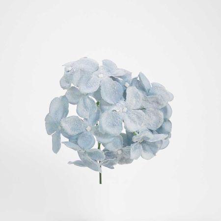Χριστουγεννιάτικο λουλούδι Ορτανσία Γαλάζιο Χιονισμένο 19cm