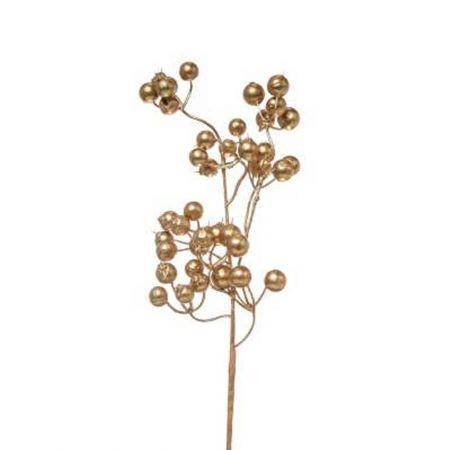 Χριστουγεννιάτικο κλαδί Berries - Γκι Χρυσό 10x33cm